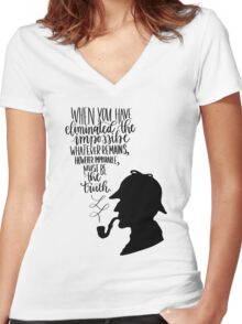 Sherlock Holmes Quote Women's Fitted V-Neck T-Shirt
