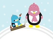 Gone Sledging - Penguins Christmas Card by Louise Parton