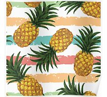 Pinapple pattern,fruit,food hipster,modern,trendy,stripes,contemporary art Poster