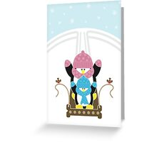 Gone Sledging [2] - Penguins Christmas Card Greeting Card