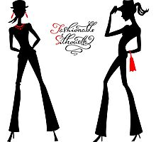 Black silhouette of fashion girls Photographic Print