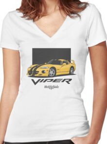 Dodge Viper GTS (yellow/black) Women's Fitted V-Neck T-Shirt