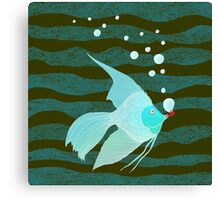 Bubble Fish Red Pipe Canvas Print