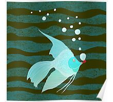 Bubble Fish Red Pipe Poster
