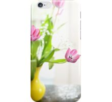 Pink Tulips In Yellow Vase iPhone Case/Skin