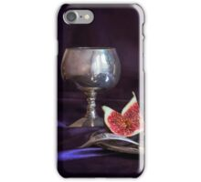 Still life with fresh figs and metal dishes iPhone Case/Skin