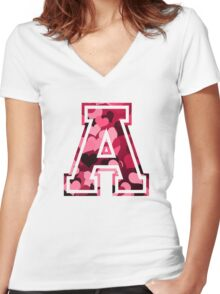 College letter A with hearts pattern Women's Fitted V-Neck T-Shirt