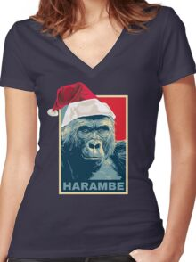 Harambe - Christmas Holidays Women's Fitted V-Neck T-Shirt