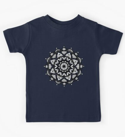 Traditional Lotus Mandala Pen and Ink Kids Tee