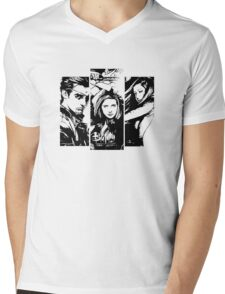 B&W BtVS Trio Mens V-Neck T-Shirt