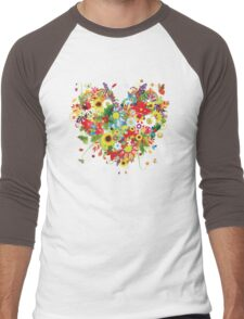 Floral heart with flowers Men's Baseball ¾ T-Shirt