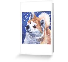 Japanese Akita Fine Art Painting Greeting Card