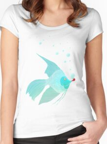 Bubble Fish Red Pipe Women's Fitted Scoop T-Shirt
