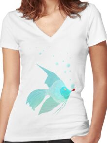 Bubble Fish Red Pipe Women's Fitted V-Neck T-Shirt