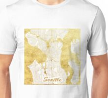 Seattle Map Gold Unisex T-Shirt
