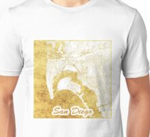 San Diego Map Gold Unisex T-Shirt