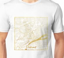 Detroit Map Gold Unisex T-Shirt