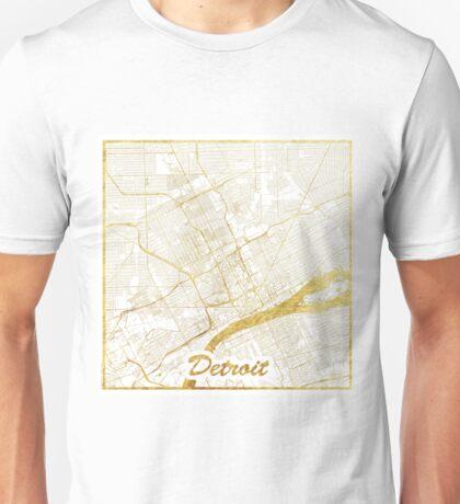 Detroit Map Gold Unisex T-Shirt