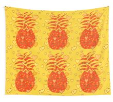 I Love Pineapple Wall Tapestry