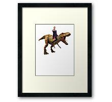Capaldi on a Dinosaur Framed Print