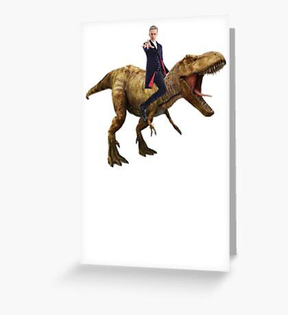 Capaldi on a Dinosaur Greeting Card
