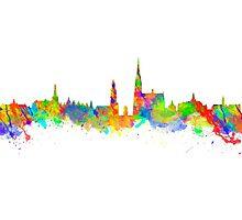 Watercolor art print of the skyline of Antwerp in Belgium Photographic Print