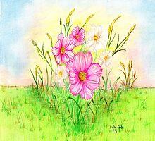 Cosmos Flowers by Linda Ginn Art