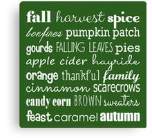 Fall Celebration in Green Canvas Print