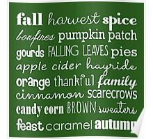 Fall Celebration in Green Poster