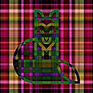 Green Plaid Kitty by Dana Roper