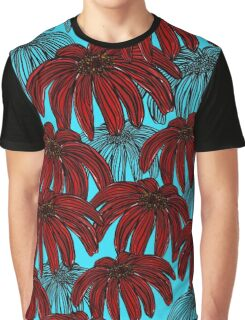 Red Flowers on bright blue Graphic T-Shirt