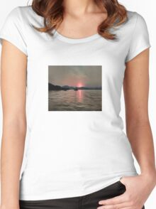 Sunset Shores In Pink And Grey Women's Fitted Scoop T-Shirt