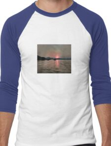 Sunset Shores In Pink And Grey Men's Baseball ¾ T-Shirt