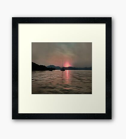 Sunset Shores In Pink And Grey Framed Print