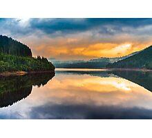 Lake Oasa at sunset in Romania Photographic Print