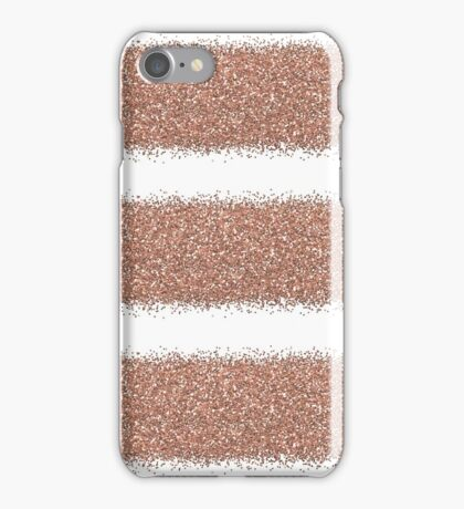 Rose gold glitter stripes iPhone Case/Skin