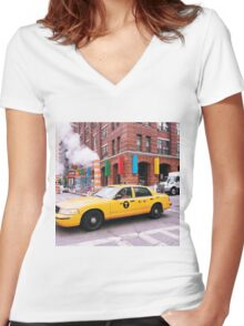 Taxi Smoke Women's Fitted V-Neck T-Shirt
