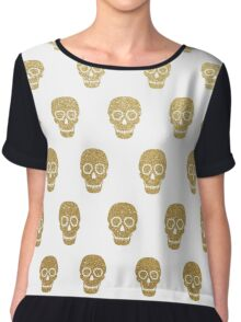 Gold Leaf Sugar Skulls Women's Chiffon Top