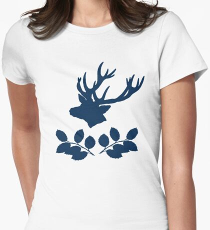 Deer and leaves Womens Fitted T-Shirt