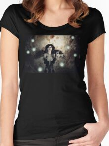 Spooky Forest and Dark Witch 3 Women's Fitted Scoop T-Shirt