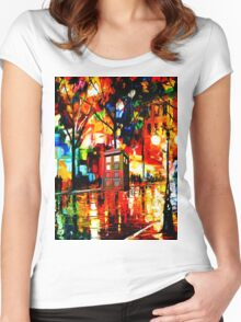 tardis starry night enchanting Women's Fitted Scoop T-Shirt