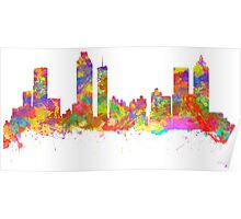 Watercolor art print of the skyline of Atlanta Georgia USA Poster