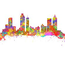 Watercolor art print of the skyline of Atlanta Georgia USA Photographic Print