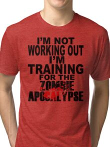 Training For The Zombie Apocalypse (dark text) Tri-blend T-Shirt