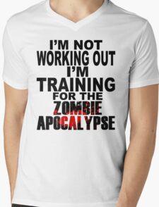Training For The Zombie Apocalypse (dark text) Mens V-Neck T-Shirt
