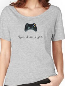 Yes, I am a Girl- (black text) Women's Relaxed Fit T-Shirt