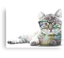 Nerdy Cat (colored) Canvas Print