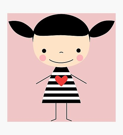 Cute smiling cartoon girl - stick figure Photographic Print