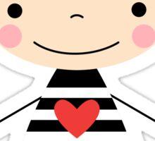 Cute smiling cartoon girl - stick figure Sticker
