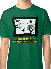 creatures of the night laura branigan pop music halloween scary owl bat crow witch 80s illustration dark Classic T-Shirt